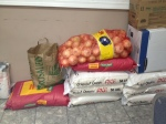 Onions, beans and rice purchased with donated money